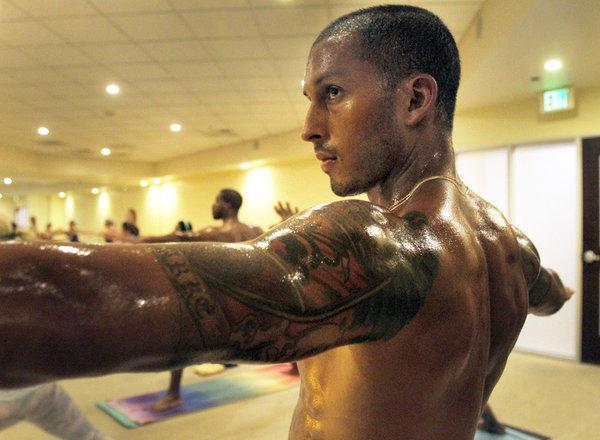 Aubrey Clarke takes a Hot 8 Yoga class.