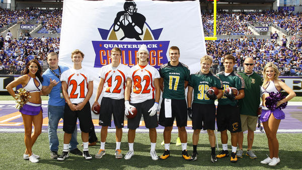 Fallston and North Harford prepare to face off in the Ravens' Quarterback Challenge.