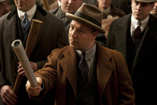 "Capone brothers Frank (Morgan Spector), Al (Stephen Graham) and Ralph violently break up a political rally on Episode 38 of ""Boardwalk Empire."""