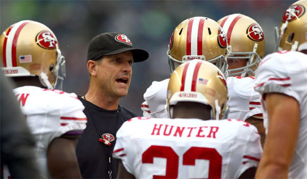 San Francisco 49ers Coach Jim Harbaugh's team fell flat against the Seattle Seahawks in a 29-3 loss at CenturyLink Field on Sunday.