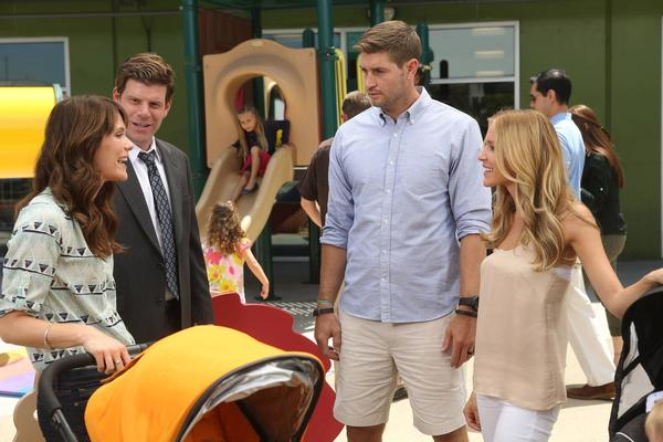 "Jay Cutler and Kristen Cavallari appear on an episode of ""The League."""