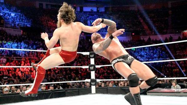 Daniel Bryan, left, defeated Randy Orton to win the WWE title.