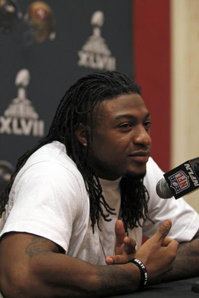 Dashon Goldson speaks during a news conference earlier this year.