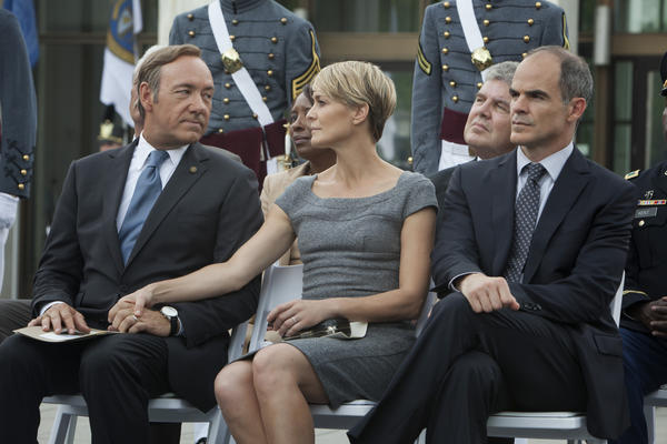 "From left, Kevin Spacey, Robin Wright and Michael Kelly appear in a scene from Netflix's ""House of Cards."""