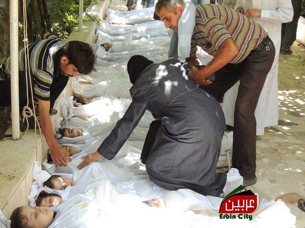 A photo from the scene of an Aug. 21 chemical weapons attack in the Damascus suburb of Arbeen. U.N. inspectors have confirmed that sarin gas was used in the incidents that killed hundreds, including children.