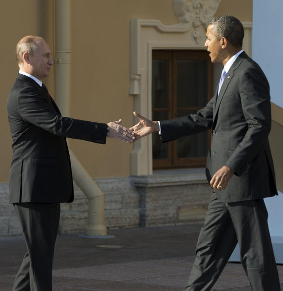 President Obama shakes hands with Russian President Vladimir Putin at the G-20 summit in St. Petersburg, Russia.