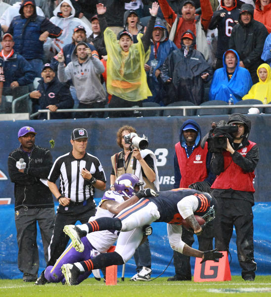 Martellus Bennett of the Bears dives for the game-winning touchdown in the fourth quarter against the Vikings at Soldier Field on Sept. 15.