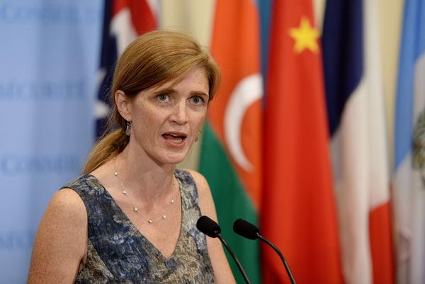 Samantha Power, U.S. ambassador to the United Nations, speaks to reporters on evidence collected by U.N. investigators from the scene of the Aug. 21 chemical weapons attacks near Damascus.