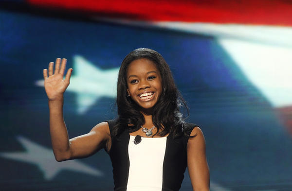 Olympic gold medalist Gabby Douglas leads the Pledge of Allegiance at the Democratic National Convention 2012 at Time Warner Cable Arena on Sept. 5, 2012, in Charlotte, N.C.