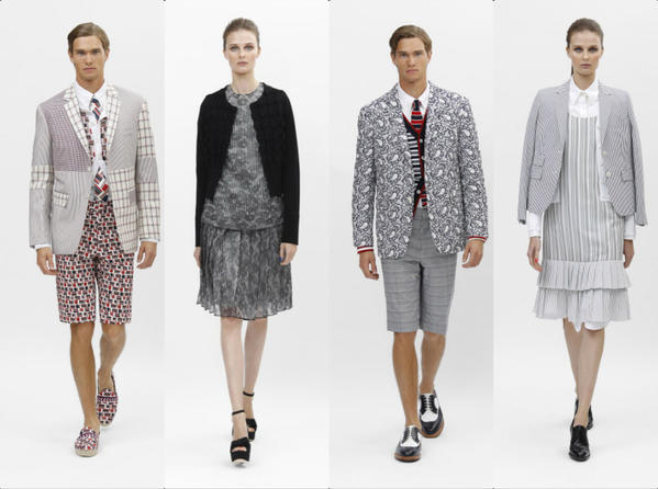 Looks from the Black Fleece by Brooks Brothers spring and summer 2014 men's and women's collection previewed for the press during New York Fashion Week.