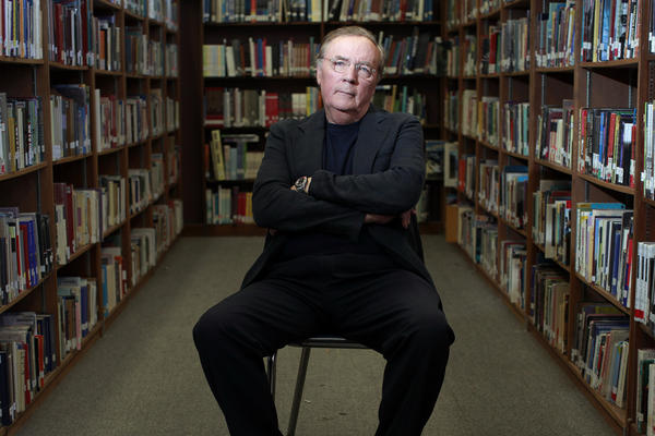James Patterson, who will give $1 million to independent bookstores, at the Venice High School library in 2012.