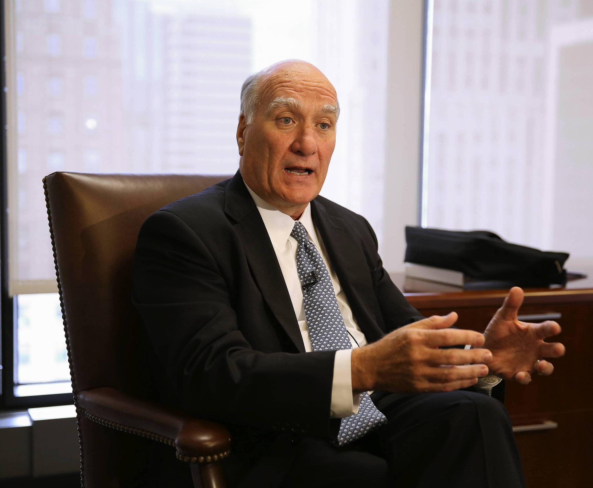 William M. Daley, in his office in Chicago, states in an interview that he is aborting his run for the office of governor of Illinois.