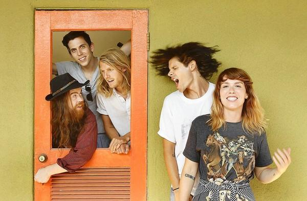 Grouplove, from left, Sean Gadd, Ryan Rabin, Andrew Wessen, Christian Zucconi, and Hannah Hooper.