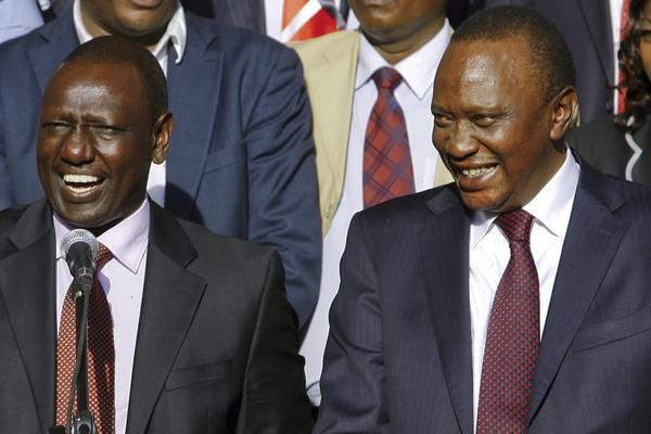 President Uhuru Kenyatta, right, and Deputy President William Ruto, left, are charged with crimes against humanity in connection with their alleged role in massacres after the 2007 Kenyan elections. Both have said they are not guilty.