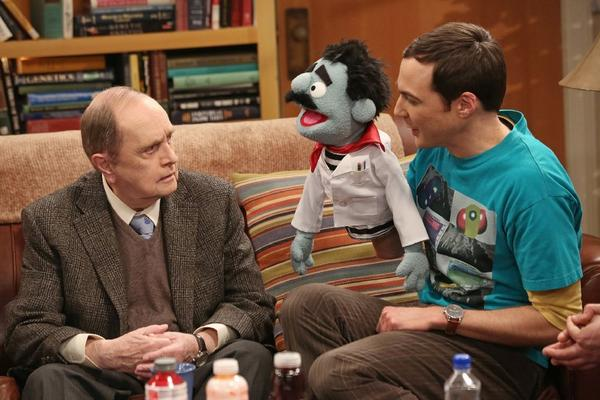 """Bob Newhart, left, and Jim Parsons share a scene on """"The Big Bang Theory."""" Newhart won an Emmy for his guest appearance."""