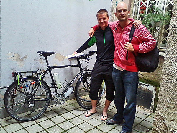 Fraser, left, and Leon Logothetis cross paths in Zagreb, Croatia.