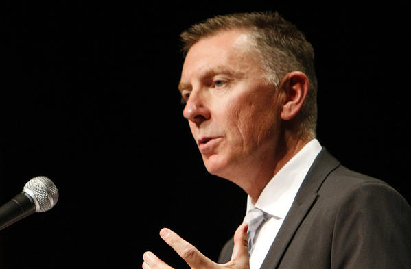 Los Angeles Unified School District Supt. John Deasy is seen making his annual address to administrators at Hollywood High School.