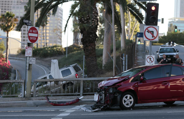 Two cars collided at Beaudry Avenue and 3rd Street in downtown Los Angeles.