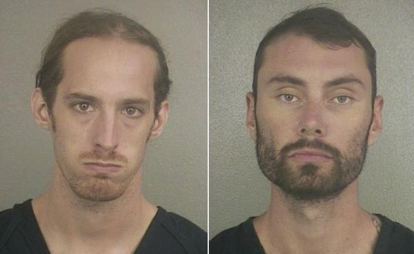 Joshua James Dundis, 21, (left) and Wesley Ryan Bates, 27, are accused of slashing tires on 10 vehicles in Hollywood