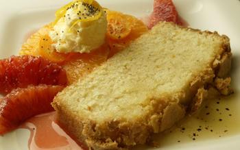 Meyer lemon poundcake with citrus salad and brown butter sauce