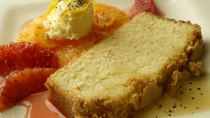 Meyer lemon poundcake with citrus salad and brown butter sauce
