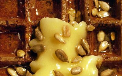Raised buckwheat Belgian waffles with honey butter