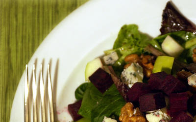 Beet-apple-walnut salad