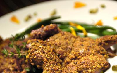 Pistachio-crusted quail