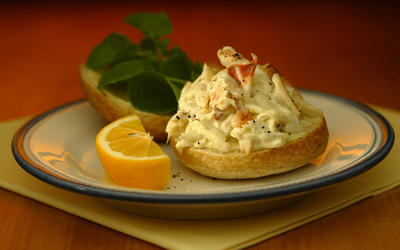 Dungeness crab salad sandwich with Meyer lemon