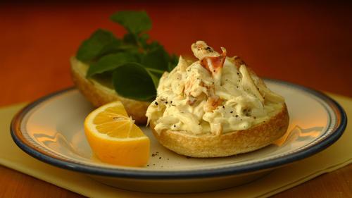 Dungeness crab salad sandwich with Meyer lemon