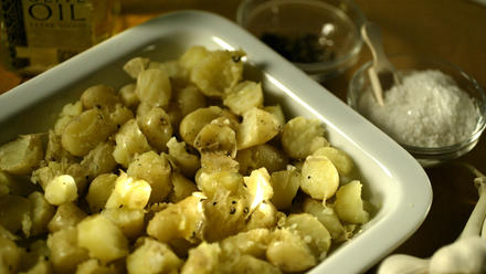 Steamed fingerling potatoes with spring garlic