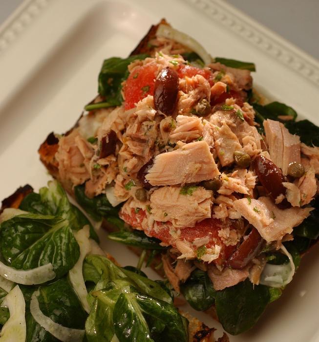 Mediterranean tuna salad sandwich
