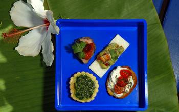 Jicama canapes with avocado and crab salad