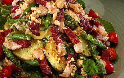 Smoked duck salad with potatoes and haricots verts