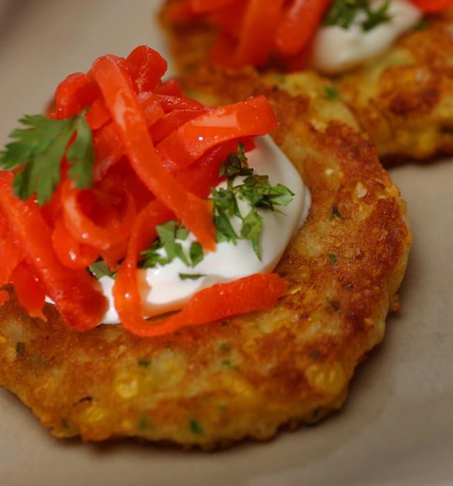 Fresh corn cakes with smoked salmon