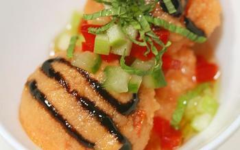 Spicy gazpacho sorbet with balsamic vinegar