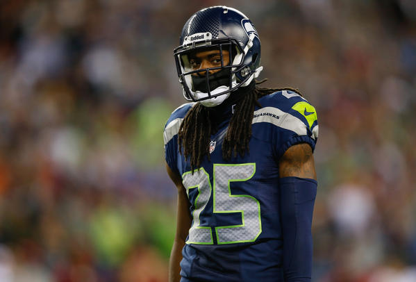 Cornerback Richard Sherman #25 of the Seattle Seahawks looks on during the game against the San Francisco 49ers at CenturyLink Field on September 15, 2013 in Seattle, Washington.