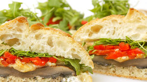 Portobello and wild arugula sandwiches