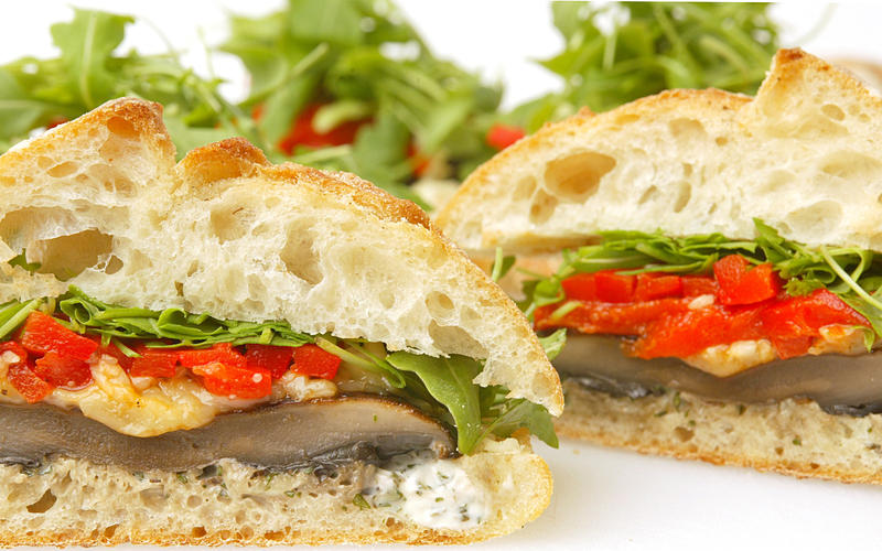 Portobello and wild arugula sandwiches