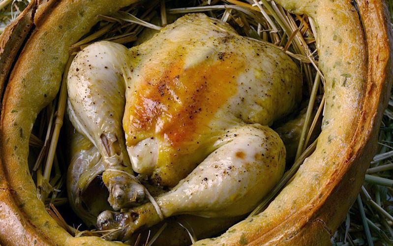Hay baked chicken