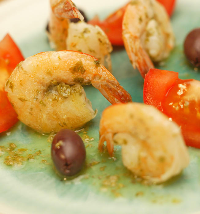 Marinated shrimp Cretan style in salty lemon dip