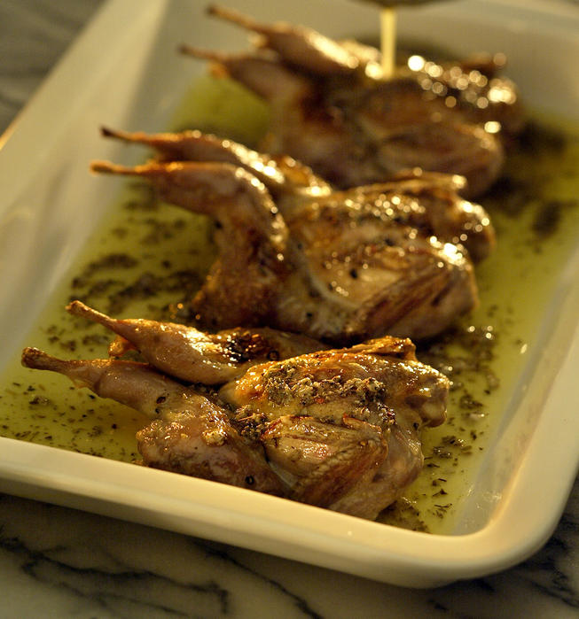 Broiled quail with salmorigano