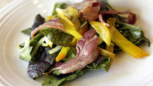 Red mustard greens, pancetta and golden beet salad