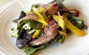Red mustard greens, pancetta and golden beet salad