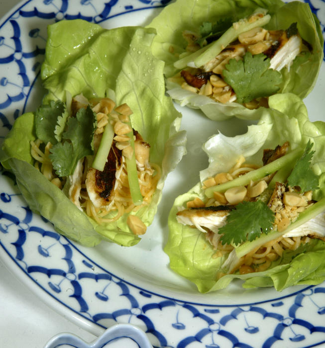 Chicken, peanut and noodle wraps
