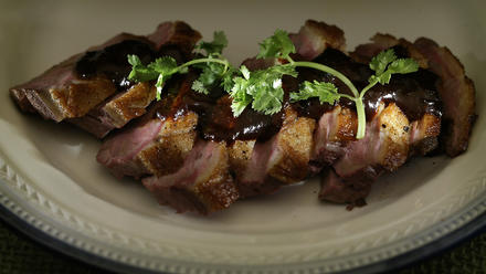 Duck breasts with orange-ancho chile sauce