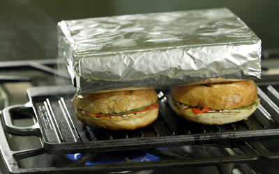 Grilled panini with peppers and goat cheese