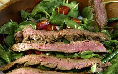 Marinated flank steak salad