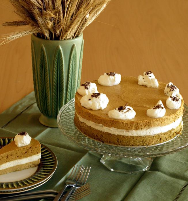 Triple silken pumpkin torte