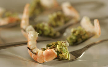 Shrimp with avocado salsa